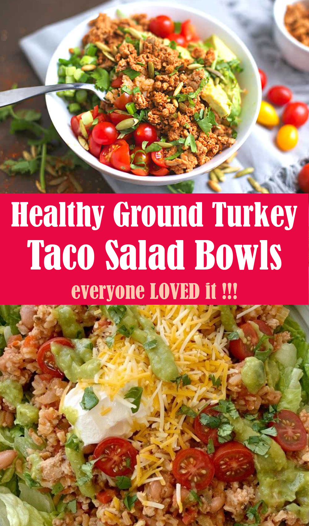 Healthy Ground Turkey Taco Salad Bowls